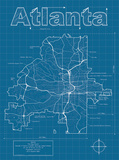 Atlanta Artistic Blueprint Map Poster by Christopher Estes