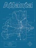 Atlanta Artistic Blueprint Map Poster by Christopher Estes