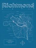 Richmond Artistic Blueprint Map Posters by Christopher Estes
