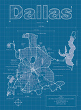 Dallas Artistic Blueprint Map Prints by Christopher Estes