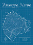 Buenos Aires Artistic Blueprint Map Posters by Christopher Estes