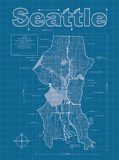 Seattle Artistic Blueprint Map Prints by Christopher Estes