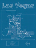 Las Vegas Artistic Blueprint Map Poster by Christopher Estes