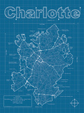 Charlotte Artistic Blueprint Map Prints by Christopher Estes
