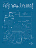 Gresham Artistic Blueprint Map Print by Christopher Estes