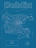 Dublin Artistic Blueprint Map Posters by Christopher Estes