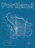Portland Artistic Blueprint Map Posters by Christopher Estes