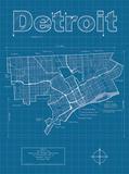 Detroit Artistic Blueprint Map Art par Christopher Estes