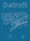 Detroit Artistic Blueprint Map Art by Christopher Estes