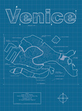Venice Artistic Blueprint Map Poster by Christopher Estes