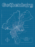 Gothenburg Artistic Blueprint Map Poster by Christopher Estes