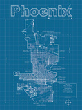 Phoenix Artistic Blueprint Map Posters by Christopher Estes