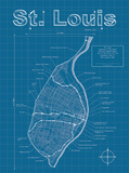 St Louis Artistic Blueprint Map Posters by Christopher Estes