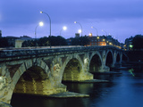 Arch Bridge with River Water Illuminated Photographic Print by Fridmar Damm