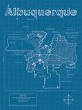 Albuquerque Artistic Blueprint Map Art by Christopher Estes