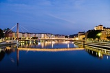 Palais Du Justice Footbridge Reflecting on the Saone Photographic Print by Massimo Borchi