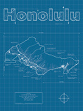 Honolulu Artistic Blueprint Map Prints by Christopher Estes