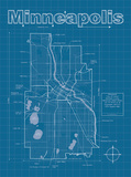 Minneapolis Artistic Blueprint Map Posters by Christopher Estes