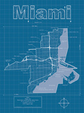 Miami Artistic Blueprint Map Prints by Christopher Estes