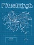 Pittsburgh Artistic Blueprint Map Posters av Christopher Estes