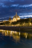 View of the Rhone and Hotel Dieu from Pont Wilson Photographic Print by Massimo Borchi