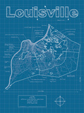 Louisville Artistic Blueprint Map Prints by Christopher Estes