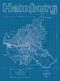 Hamburg Artistic Blueprint Map Affiches par Christopher Estes