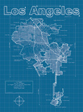 Los Angeles Artistic Blueprint Map Print by Christopher Estes