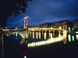 St. Georges Bridge over River Saône at Night, France Photographic Print by Murat Taner