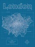 London Artistic Blueprint Map Affiches par Christopher Estes