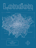London Artistic Blueprint Map Prints by Christopher Estes