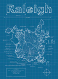 Raleigh Artistic Blueprint Map Art by Christopher Estes