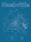Nashville Artistic Blueprint Map Art by Christopher Estes