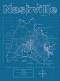 Nashville Artistic Blueprint Map Poster by Christopher Estes