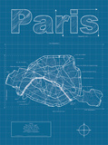 Paris Artistic Blueprint Map Poster by Christopher Estes