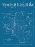 Grand Rapids Artistic Blueprint Map Prints by Christopher Estes