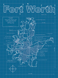 Fort Worth Artistic Blueprint Map Prints by Christopher Estes