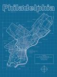 Philadelphia Artistic Blueprint Map Kunstdrucke von Christopher Estes