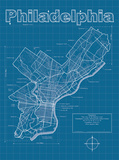 Philadelphia Artistic Blueprint Map Prints by Christopher Estes
