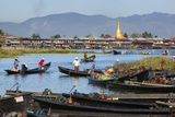 Boats Arriving at Nampan Local Market, Inle Lake, Shan State, Myanmar (Burma), Asia Photographic Print by Stuart Black