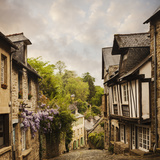 Quaint French Houses and Cobblestone Street Photographic Print by Mike Kemp