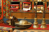 Sacred Texts, Horns Cignil (Cymbals) and Yeti Scalp, Namche Monastery, Namche Bazaar, Nepal, Asia Photographic Print by Peter Barritt