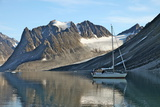 Yacht Anchored under a Glacier, Magdalenefjord, Svalbard, Norway, Scandinavia, Europe Photographic Print by David Lomax