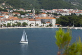 Makarska Harbour with Yacht, Dalmatian Coast, Croatia, Europe Photographic Print by John Miller