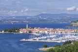 High Angle View of the Old Town and the Harbour of Izola, Primorska, Istria, Slovenia, Europe Photographic Print by Markus Lange