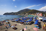 Umbrellas on the Beach at Levanto, Liguria, Italy, Mediterranean, Europe Photographic Print by Mark Sunderland