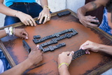 Local Men Playing Dominos on a Street in Cienfuegos, Cuba, West Indies, Central America Photographic Print by Lee Frost