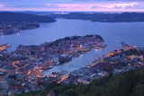 Elevated View over Central Bergen at Dusk, Bergen, Hordaland, Norway, Scandinavia, Europe Photographic Print by Doug Pearson