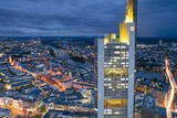 City Centre from Above at Dusk, Frankfurt, Hessen, Germany, Europe Photographic Print by Gavin Hellier