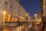 Pred Dvorom, Lit Up at Dusk, Cathedral in Background, Dubrovnik, Croatia, Europe Photographic Print by John Miller